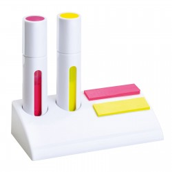 Set of 2 highlighters and sticky markers CLIC CLAC-ANKARA WHITE