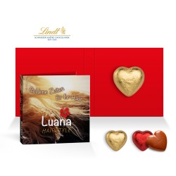 Personalized Folded Card - chocolate heart original Lindt brand 5 g