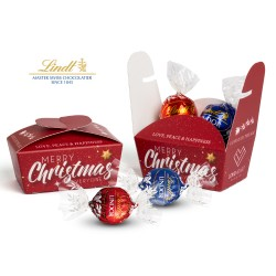 Pudełko reklamowe z czekoladowymi truflami Lindor / Lindt Lindor Chocolate Truffles XMAS Ballotin