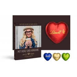 Personalized Folded Card - chocolate heart original Lindt brand 20 g